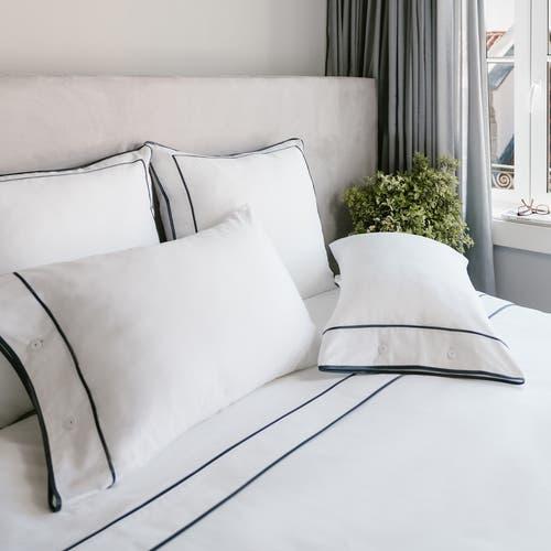 Kolekcja Monaco Egipska bawełna 550 splotów - Grafitowa tasiemka - Prześcieradło